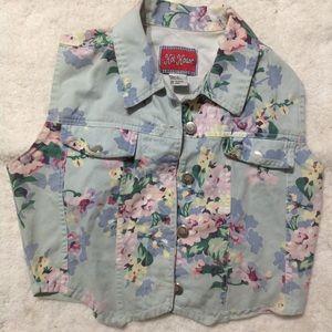 Vintage floral denim crop vest